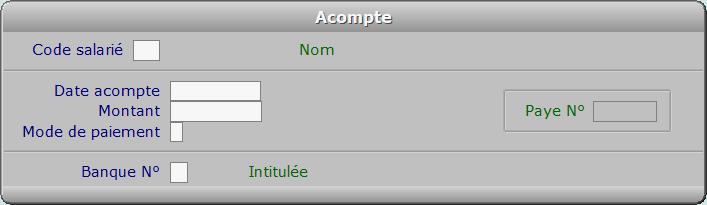 Fiche acompte - ICIM PAYE