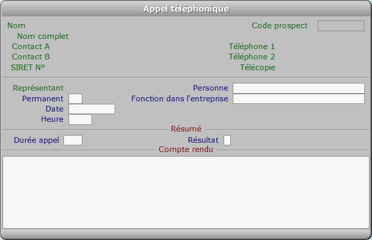 Fiche appel téléphonique - ICIM PROSPECTION