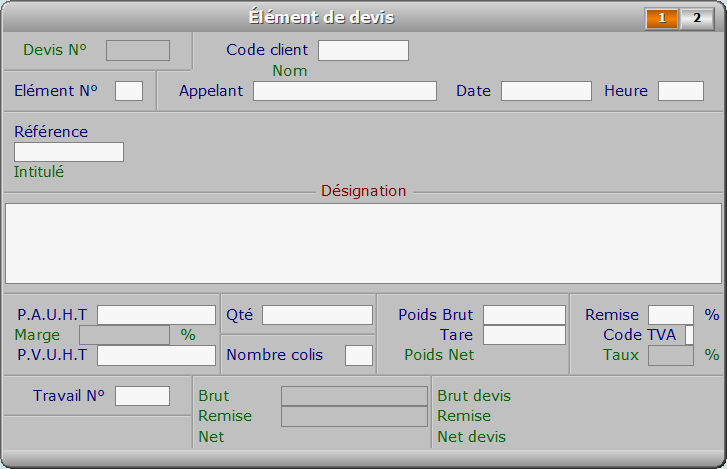 Fiche élément de devis - page 1 - ICIM FACTURATION
