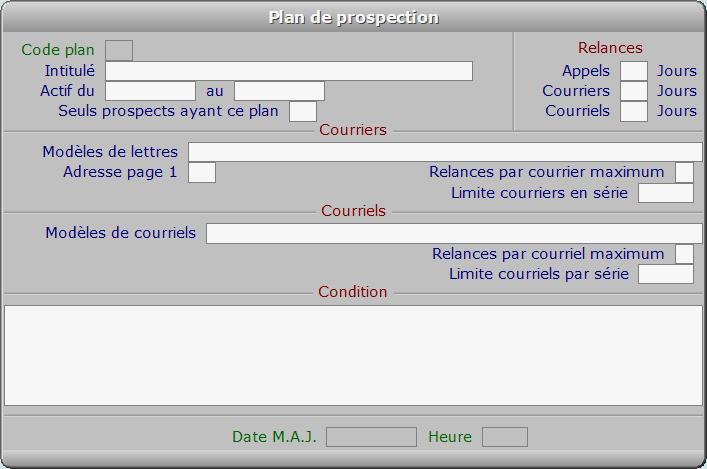 Fiche plan de prospection - ICIM PROSPECTION