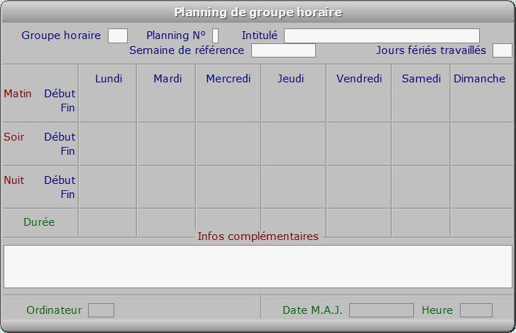 Fiche planning de groupe horaire - ICIM RESSOURCES HUMAINES