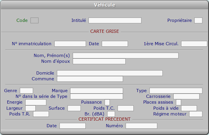 Fiche véhicule - ICIM COURSE